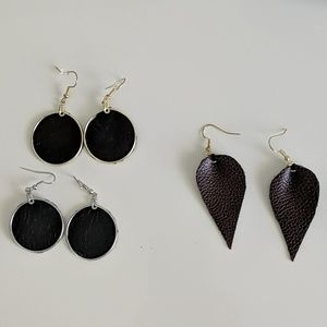 Jewelry - Leather earring set (3 pairs) NEW
